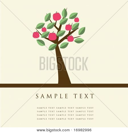 Apple tree. Design for greeting card