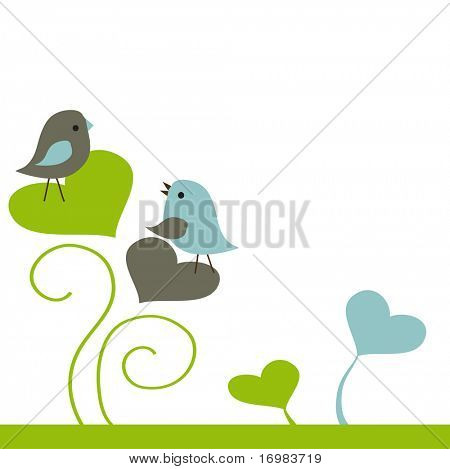Birds couple in love. Vector illustration