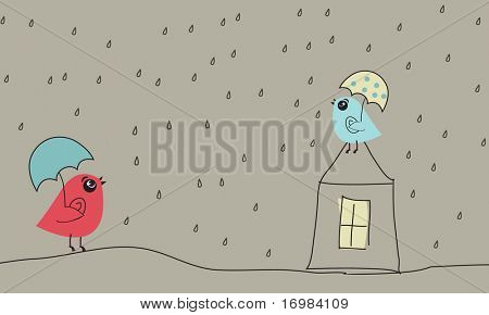 Birds in love under rain