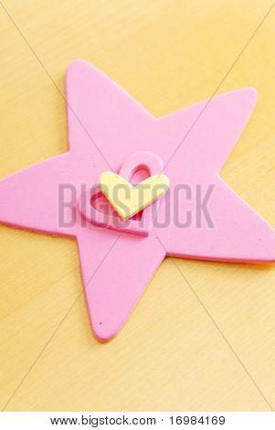 Corazón y formas de estrellas