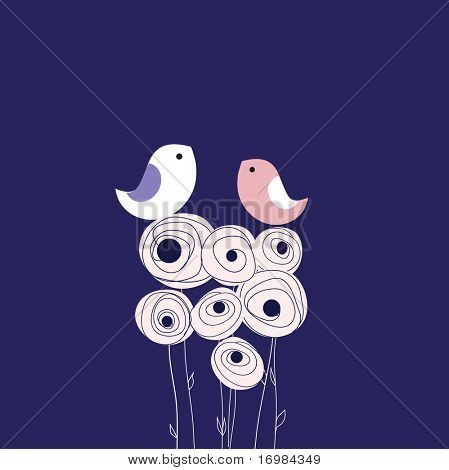 Greeting card with two cute birds