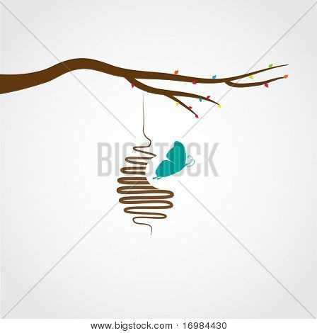 Butterflies cocoon, vector illustration