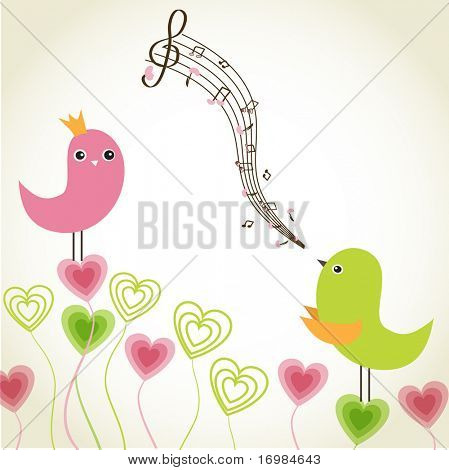 Greeting card with cute birds couple in love