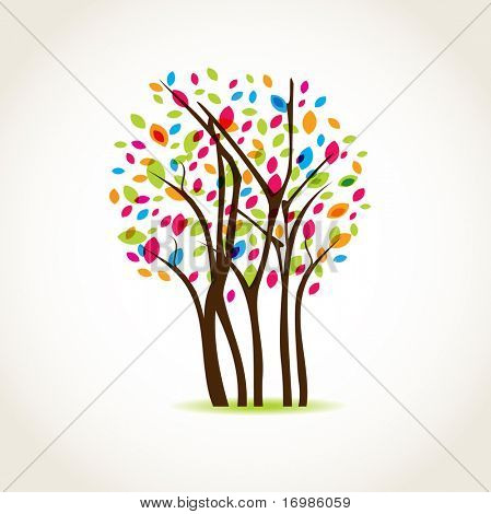 Colorful spring tree