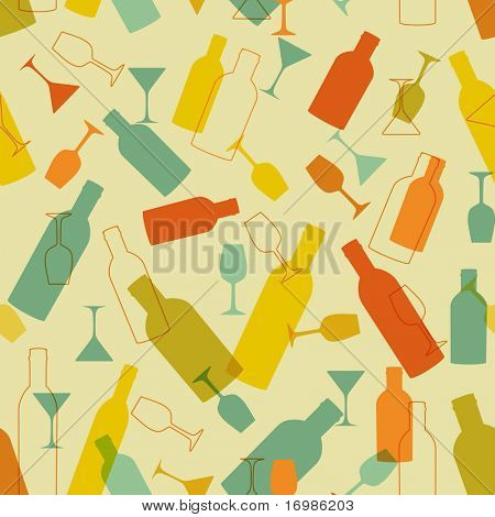 Vintage seamless background with wine bottles and glasses