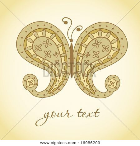 Paisley butterfly. Hand-Drawn ornate  doodle vector