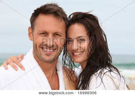 Closeup of happy couple in spa treatment