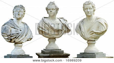 Three ancient busts