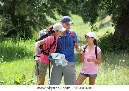Family rambling in the countryside