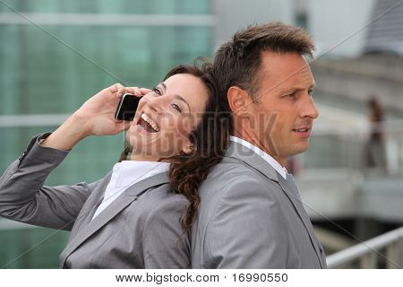 Business team with mobile phone