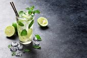 Mojito cocktail on dark stone table. With space for your text  poster