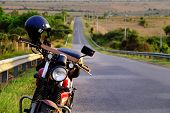 Постер, плакат: Motorbike On The Way In Summer Adventure Trip