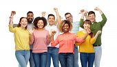 diversity, race, ethnicity, success and people concept - international group of happy smiling men an poster