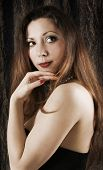foto of red hair  - sexy beautiful woman with long hair - JPG