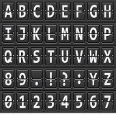 picture of outdated  - vector alphabet of black mechanical panel - JPG