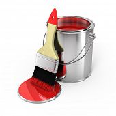stock photo of paint brush  - Paint can with brush - JPG
