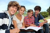 stock photo of 16 year old  - Group of teenagers studying outside the class - JPG