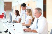stock photo of training room  - Business training in modern offices - JPG