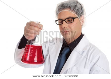 Chemist Carrying Large Flask