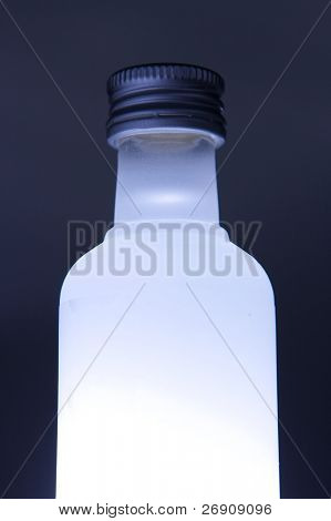 Glass bottle with colored illumination