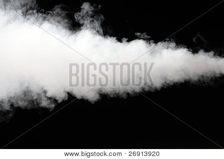 thick stream of smoke isolated on black