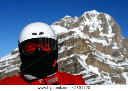 Closeup Of Skier Or Snowboarder