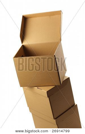 stack of opened cardboard boxes, isolated