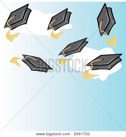 Throwing Graduation Caps With Clouds.Eps