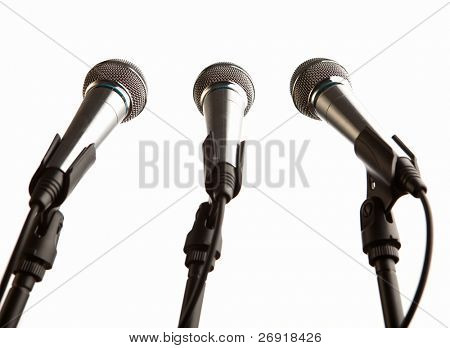 group of microphones isolated