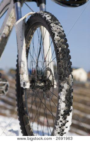 Bike In Winter Over Blue Sky