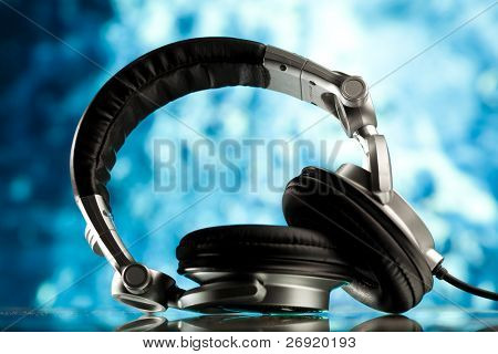 headphones against blue background
