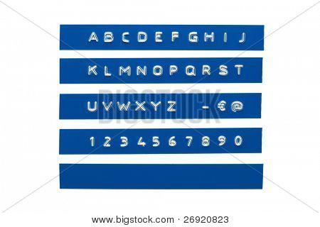Embossed alphabet on blue plastic tape