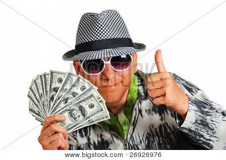 happy man and dollars