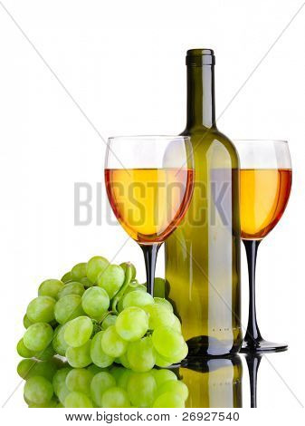 wine bottle and wineglass on the white background