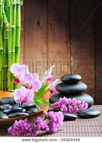 spa concept with zen stones and  orchid