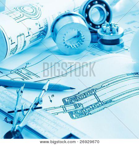 Indastrial dibujo de detalle y varias herramientas de dibujo