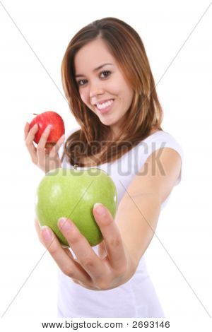 Pretty Woman Holding Apples