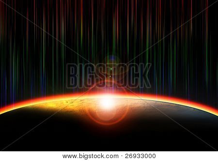 Light over planet