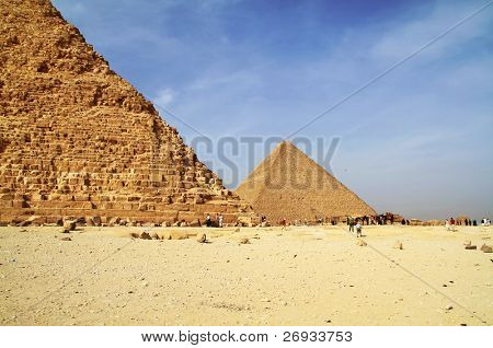 Cheops pyramid under Chefren pyramid in Giza