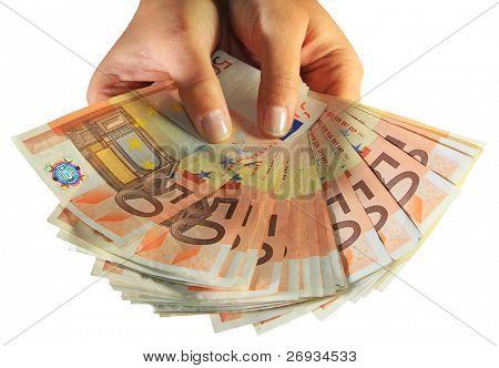 Woman hands holding euro money