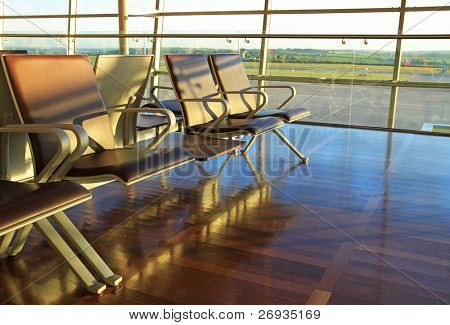 Empty chairs on airport