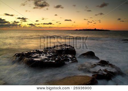 Magical sunset over Atlantic ocean
