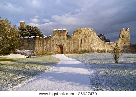 Irish winter scenery - ruins of castle in Adare
