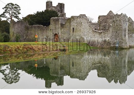Ruins of castle in Adare with reflection - Ireland