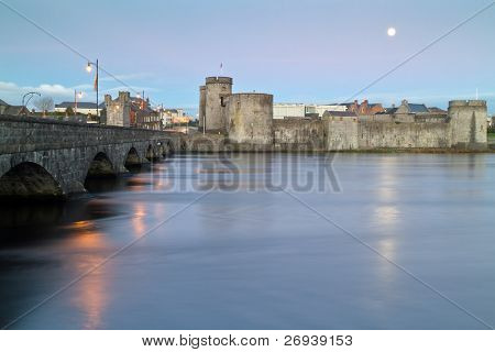 King John castle in Limerick at dusk - Ireland