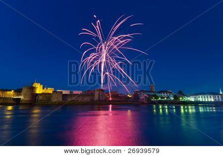 Fireworks over King John Castle in Limerick - Ireland