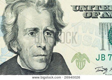 Portrait of Andrew Jackson on the Twenty Dollar banknote