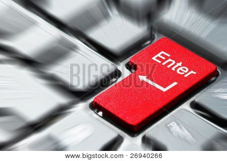 Red enter button on the keyboard