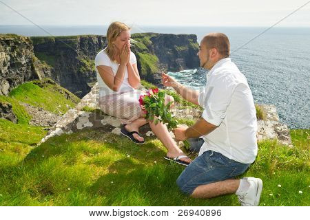 Engagement proposal at Irish Cliffs of Moher