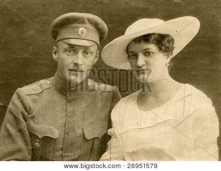 Vintage wedding photo (during First World War)